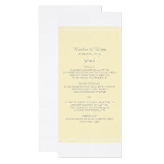Tarjeta Menú simplemente elegante del boda del amarillo