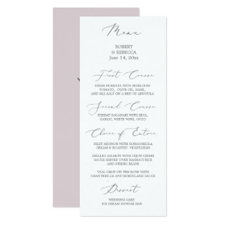 Tarjeta Menú suave y elegante del boda