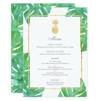 Tarjeta Menú tropical del boda del oro de la piña