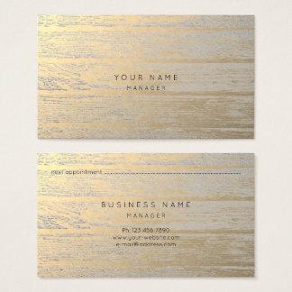 Tarjeta metálica de la cita del oro de plata