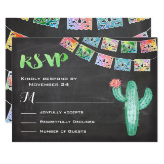 Tarjeta mexicana de RSVP del cactus de la acuarela Invitación 8,9 X 12,7 Cm