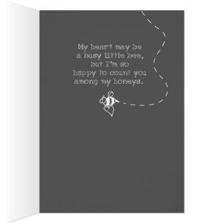 Tarjeta Mi corazón es una pequeña abeja ocupada