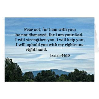 Tarjeta Miedo del 41:10 de Isaías no para mí estoy con