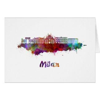 Tarjeta Milan V2 skyline in watercolor