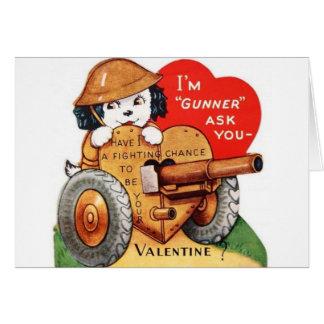 Tarjeta militar retra del el día de San Valentín