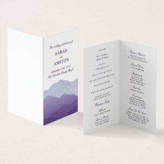 Tarjeta Mini programa del boda de la cordillera