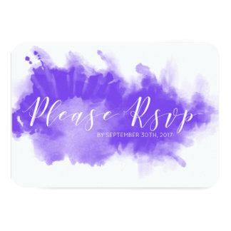 Tarjeta minimalista de RSVP de la acuarela que se