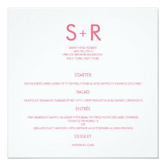 Tarjeta minimalista moderna del menú del boda invitación 13,3 cm x 13,3cm