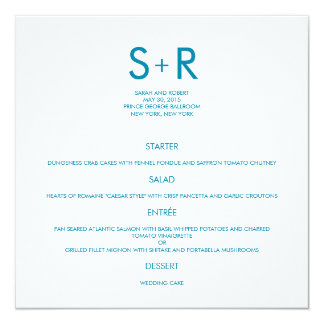 Tarjeta minimalista moderna del menú del boda comunicados personalizados