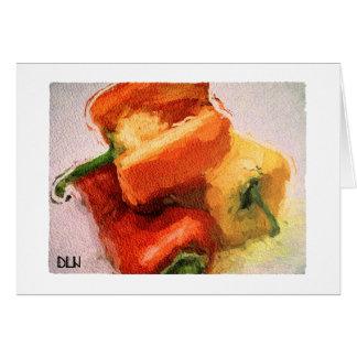 Tarjeta Mirada de tres /Watercolor de las pimientas/de las