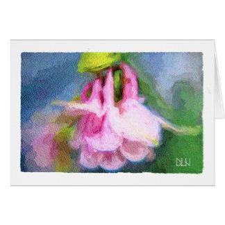 Tarjeta Mirada rosada de Columbine/floral/de la acuarela