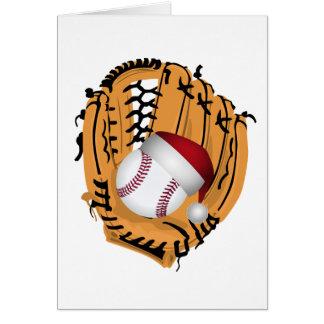 Tarjeta Mitón y bola de béisbol del navidad