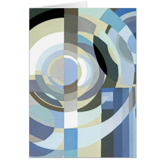 Tarjeta Modelo azul de los círculos del art déco del
