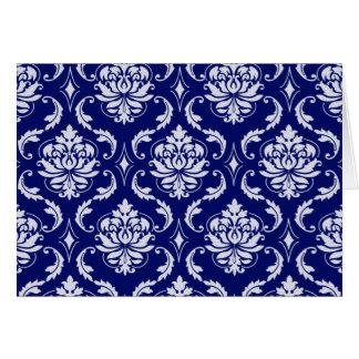 Tarjeta Modelo brillante del damasco de los azules marinos