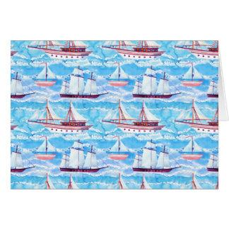 Tarjeta Modelo de los veleros de la acuarela