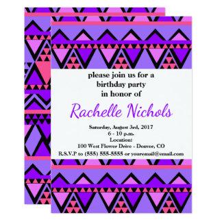 Tarjeta Modelo de zigzag púrpura, azul, rosado brillante