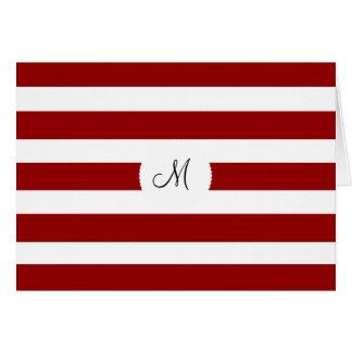Tarjeta Modelo horizontal rojo y blanco de las rayas