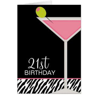 Tarjeta Modelo rosado de Martini y de la cebra
