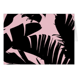 Tarjeta Modelo tropical de las hojas del plátano del negro