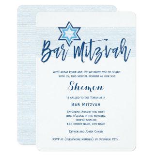 Tarjeta Modern Blue Bar Mitzvah Invitation