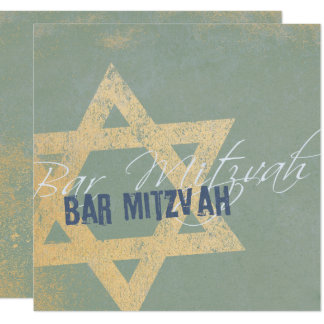 Tarjeta Modern Distressed - Bar Mitzvah Invitation