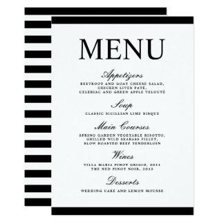 Tarjeta moderna blanco y negro del menú del boda invitación 12,7 x 17,8 cm