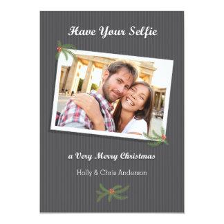Tarjeta moderna de la foto de Selfie del navidad Invitación 12,7 X 17,8 Cm