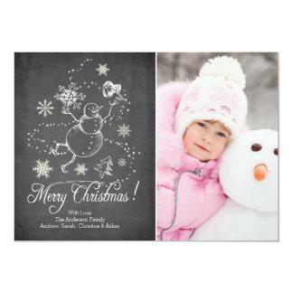 Tarjeta moderna de la foto del navidad del muñeco invitación 12,7 x 17,8 cm