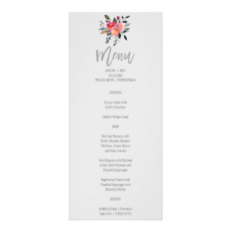 Tarjeta moderna del menú del boda de la flor del tarjeta publicitaria