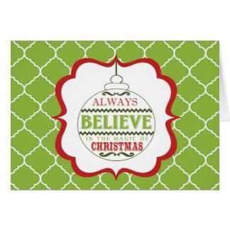 tarjeta moderna del ornamento del navidad del vint