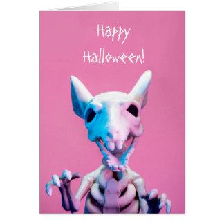 Tarjeta moderna esquelética de Halloween de la
