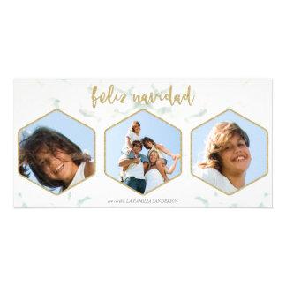 Tarjeta Moderna Feliz Navidad Blanco y Oro Tres Foto