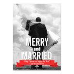 Tarjeta moderna feliz y casada de la foto del día invitación 12,7 x 17,8 cm