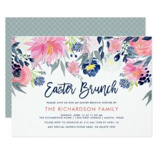 Tarjeta Moderno se ruboriza y el brunch floral de Pascua