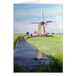 Tarjeta Molino de viento holandés por la pradera de Farida