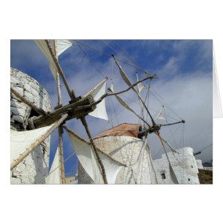 Tarjeta Molinoes de viento viejos Olympos Karpathos,