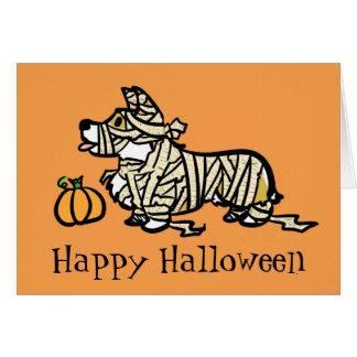 Tarjeta Momia de Halloween del Corgi