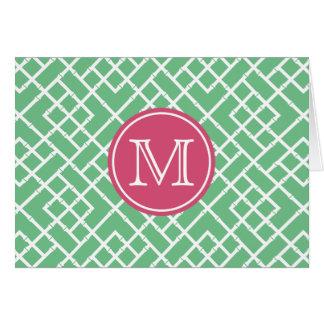 Tarjeta Monograma de bambú geométrico verde y rosado del