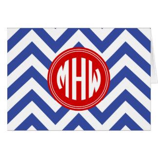 Tarjeta Monograma rojo blanco azul del círculo 3I del MED