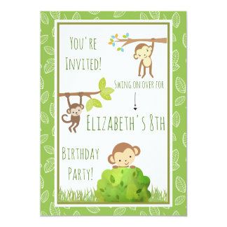 Tarjeta Monos que balancean de fiesta de cumpleaños de los