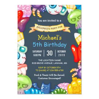 Tarjeta Monstruos coloridos de la fiesta de cumpleaños de