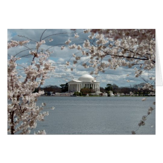 Tarjeta Monumento de Jefferson con las flores de cerezo