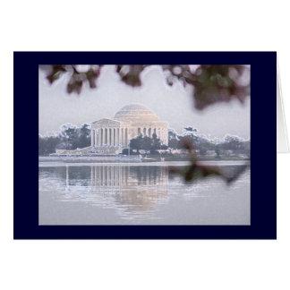 Tarjeta Monumento de Jefferson reflejado en lavabo de