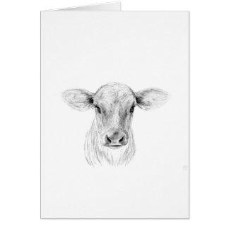 Tarjeta MOO una vaca joven del jersey
