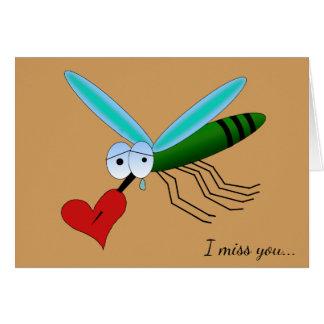 Tarjeta Mosquito afligido con el texto del corazón y del