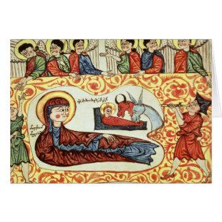 Tarjeta Ms 404 fol.1v la natividad, de un evangelio