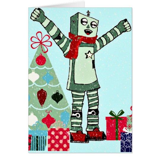 Tarjeta Muchacho, árbol, y regalos en colores pastel del