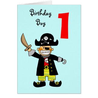 Tarjeta Muchacho de 1 año del pirata