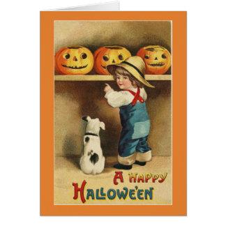 Tarjeta Muchacho de Halloween del vintage