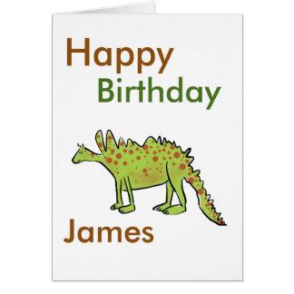 Tarjeta Muchachos del dinosaurio verde del dibujo animado